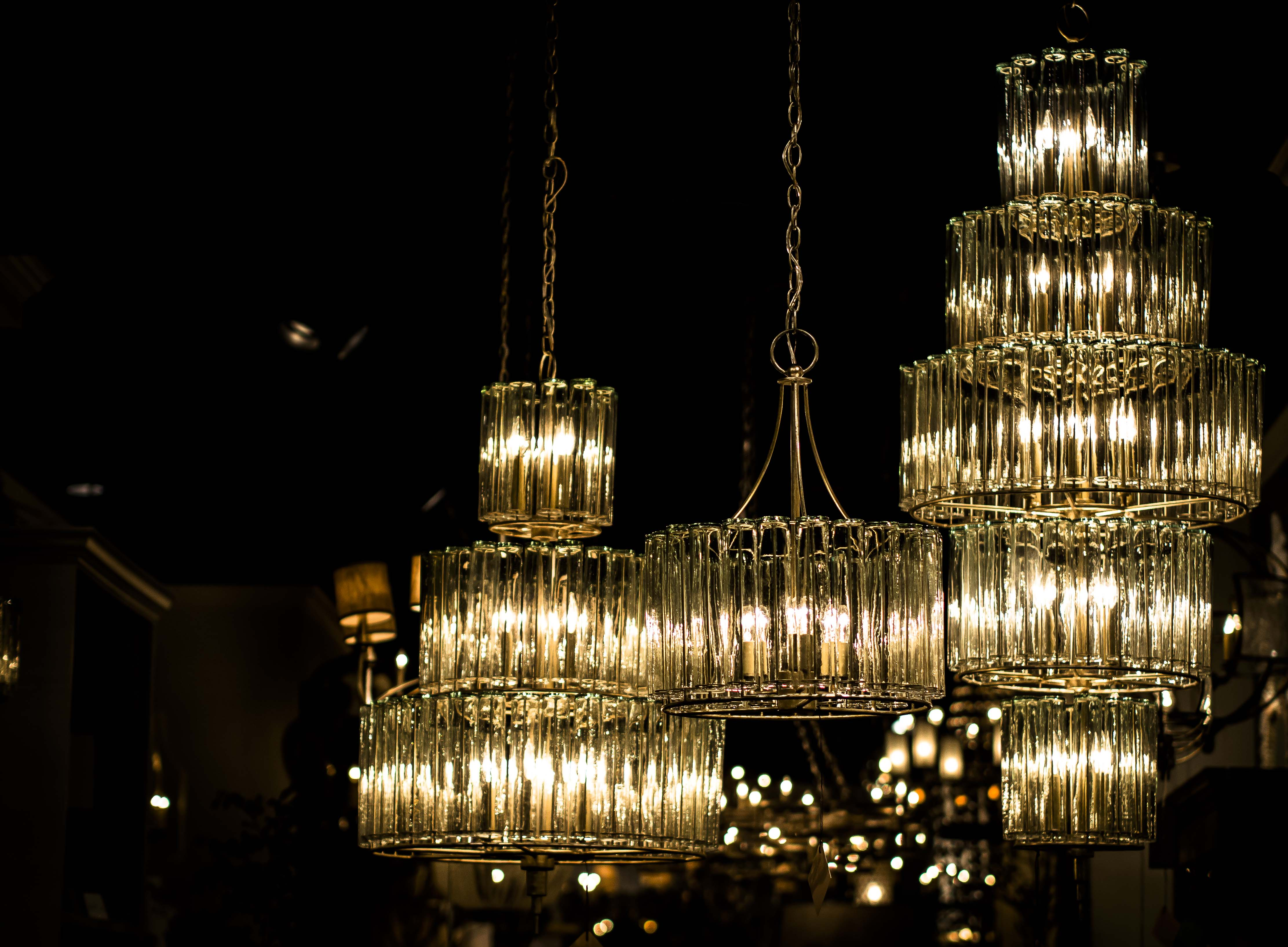 Sparkling chandeliers in our High Point showroom.