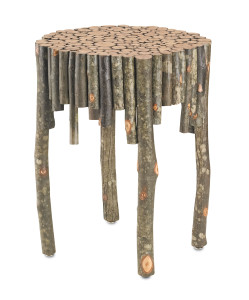 The Elkmont Occasional table made of rough wood sticks