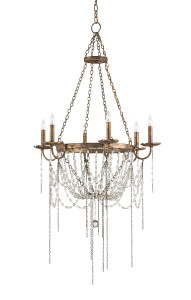 the Currey & Company Prophecy Chandelier drips with history