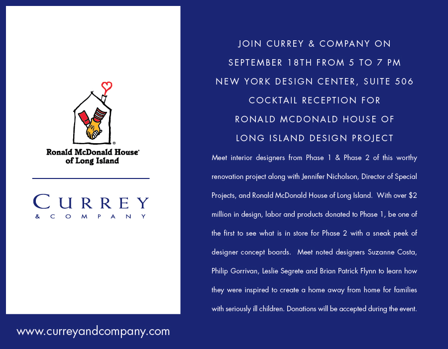 The Currey & Company invitation to the RMH party in NYC