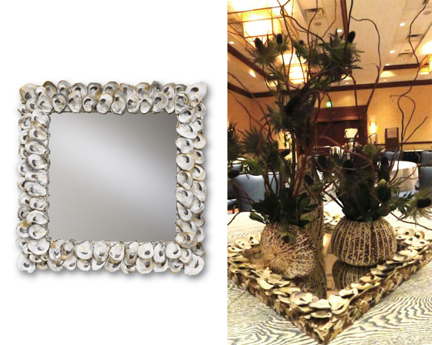 The clever use of one of our oyster shell mirrors for a WithIt Conference tabletop