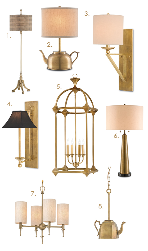 brass lighting fixture by Currey & Company