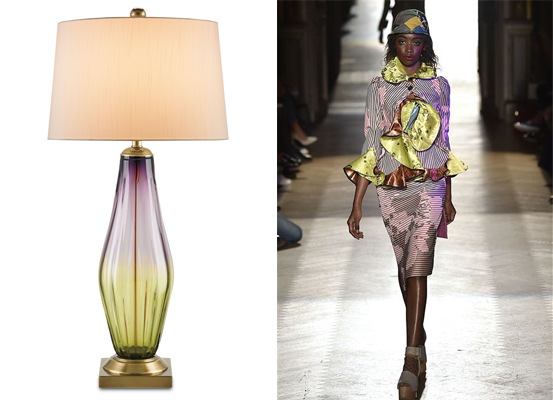 Currey & Company's new products, like this glass lamp, echo spring fashions