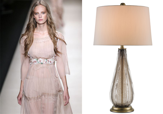 Dusty Pink is echoed in this glass lamp