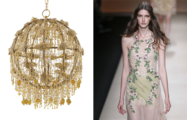 Products like this floral chandelier echo spring fashions