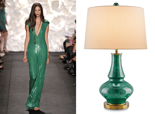 Products like this green lamp echo spring fashions