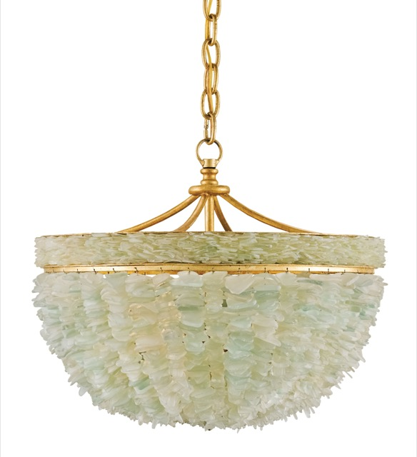 Currey and Company's Bayou Pendant made from tumbled glass inspired by the sea