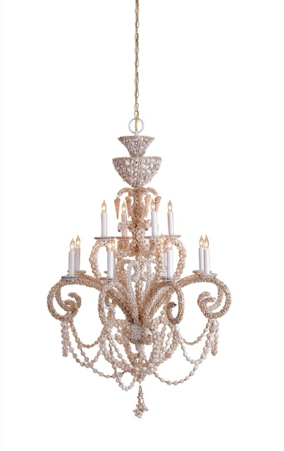 Currey & Company's shell-encrusted Grotto Chandelier
