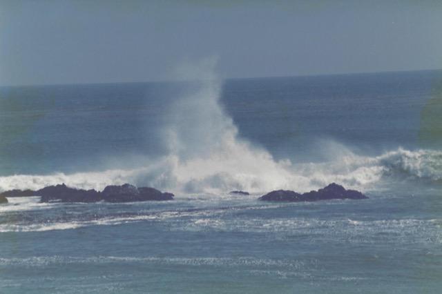 Waves on California Coastline mark a roaring sea