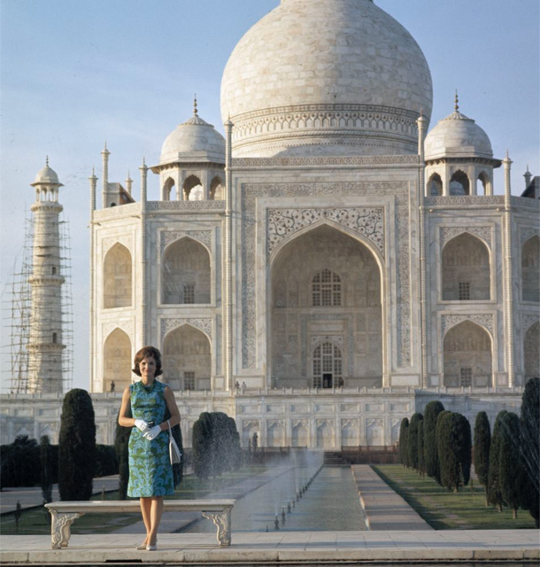 First Lady Jacqueline Kennedy visits the Taj Mahal
