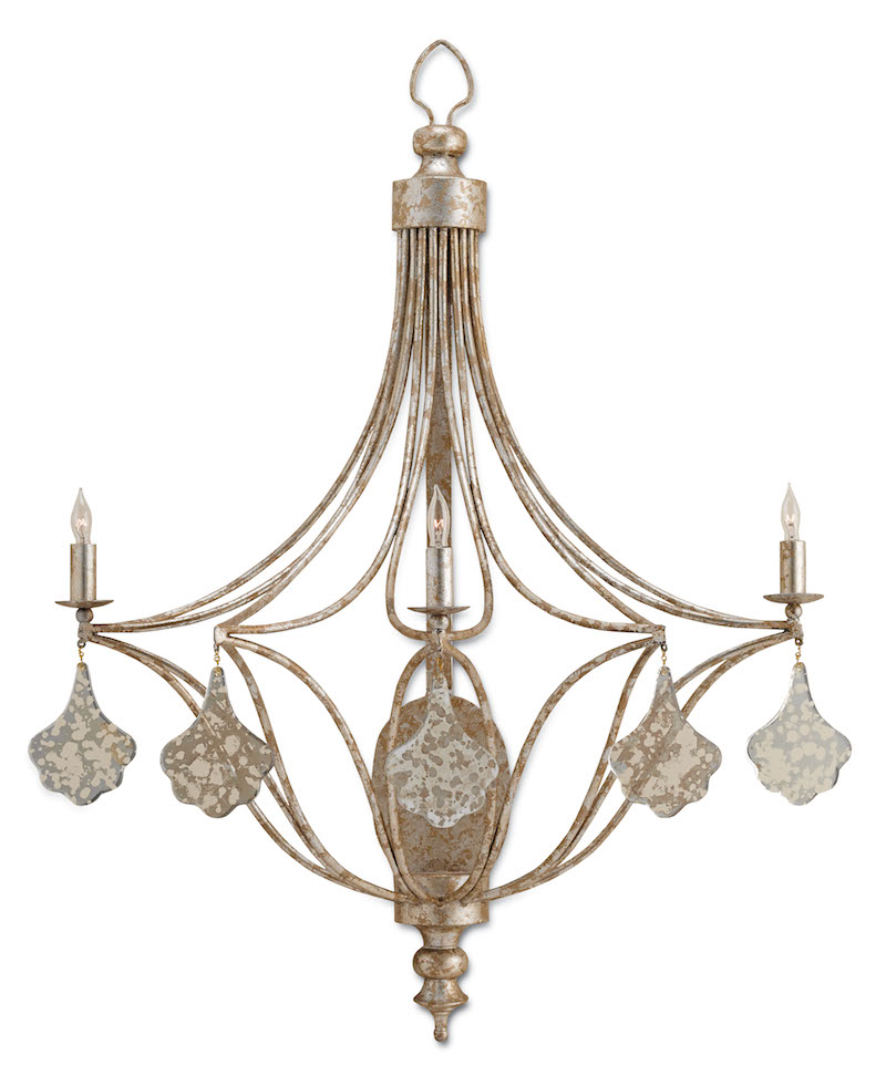Currey and Company's Lavinia Wall Sconce, special because of its mercury glass ornamentation