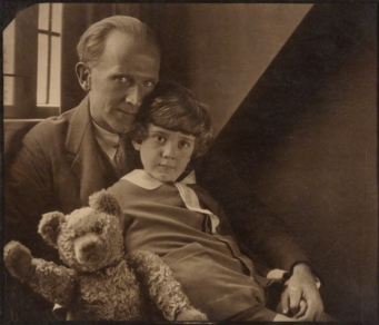 A. A. Milne with his son Christopher Robin and Pooh Bear