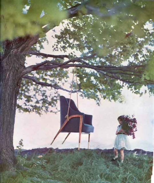 The Dunbar Austen chair as a playful swing