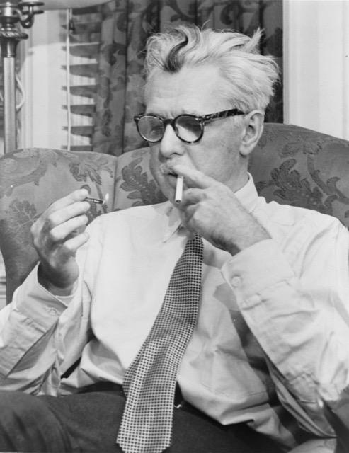 Author James Thurber smoking a cigarette