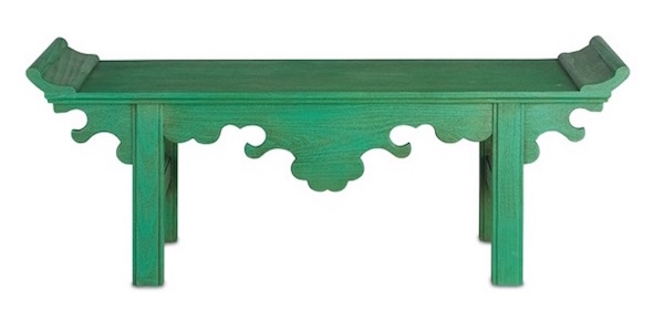 The Jade bench by Currey and Company, a Japanese-inspired piece of art