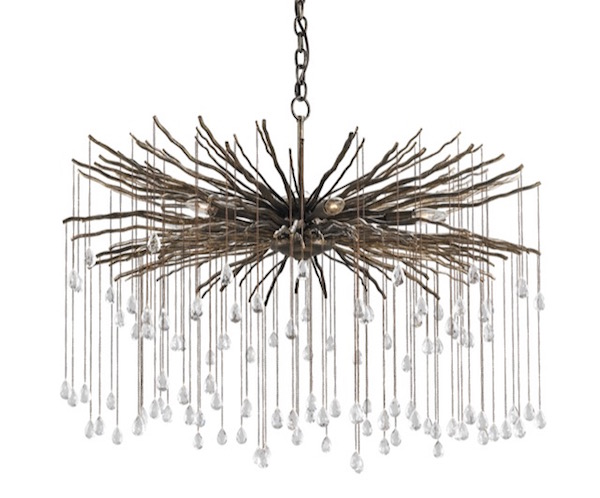 Currey and Company's Fin chandelier, a true work of art in metal dripping with crystals