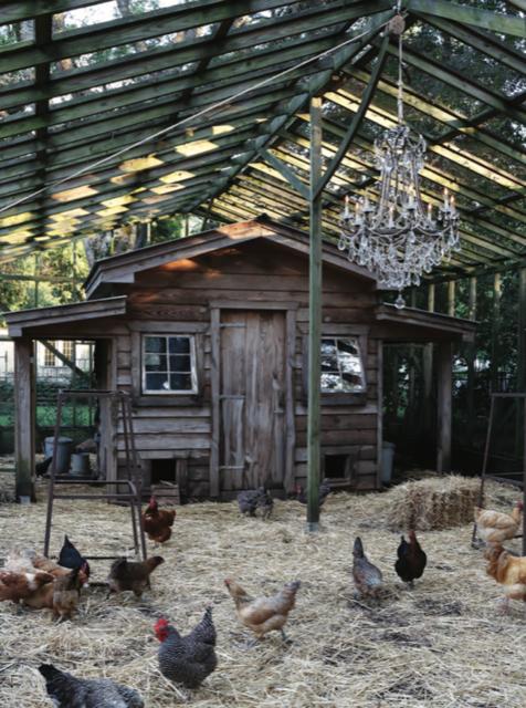Currey and Company's Scarlett chandelier in a barnyard setting