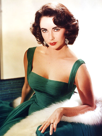 Actress Elizabeth Taylor in emerald green gown