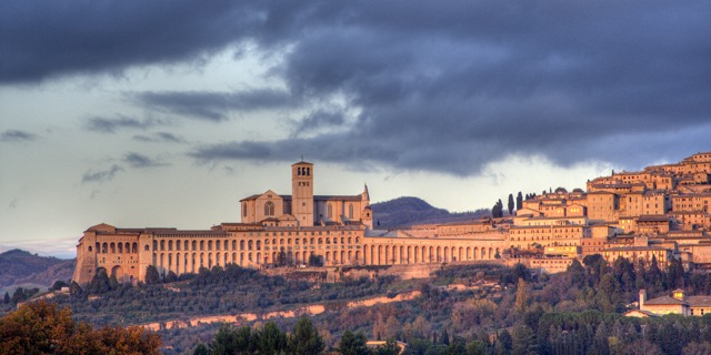 St Francis of Assisi Basilica with cloudy sky