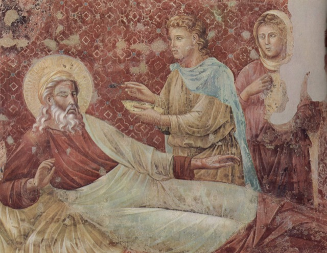 A Giotto fresco at the Basilica of St. Francis of Assisi featuring Isaac and Esau