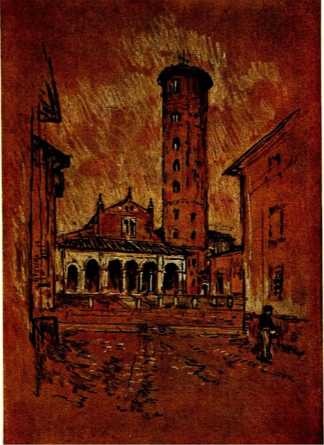 """One of the illustrations Joseph Pennell created for James's collected essays titled """"Italian Hours,"""" this one of Perugia."""