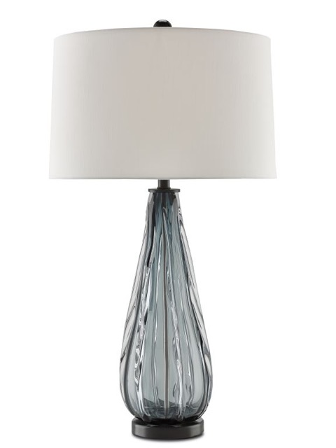 The Nightcap table lamp by Currey and Company, the mood achieved by the molten glass sultry