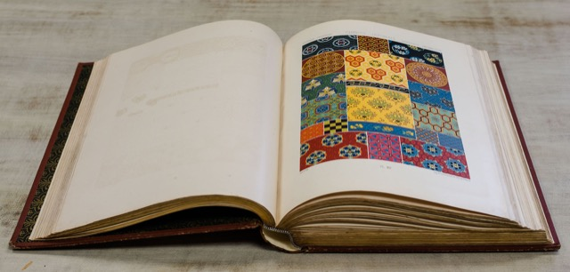 book of swatches in Currey and Company library