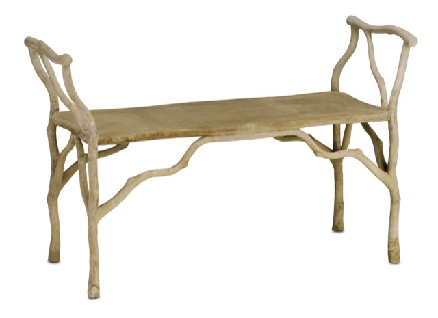Beaujon bench by Currey and Company in faux bois, perfect for the garden