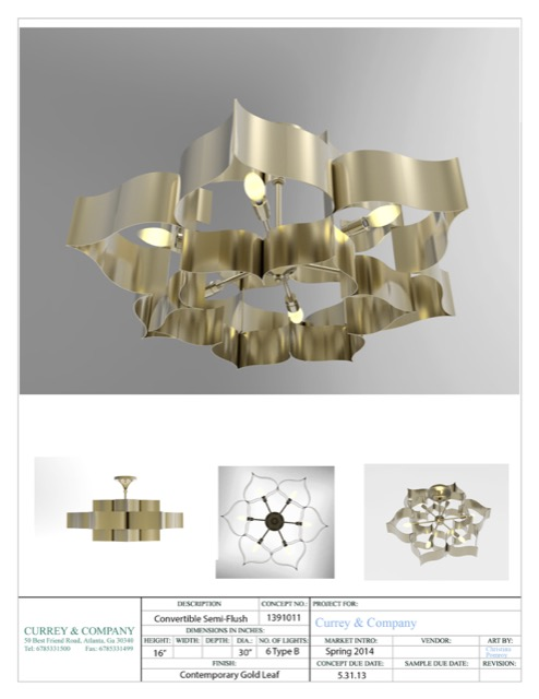 Grand Lotus chandelier rendering