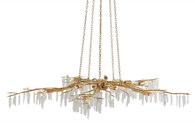 Forest Light Chandelier by Currey and Company declares decadence with its dripping crystals