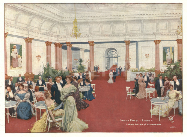 A historic shot of the Savoy Hotel on a Postcard
