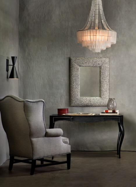 A Currey and Company vignette of new products