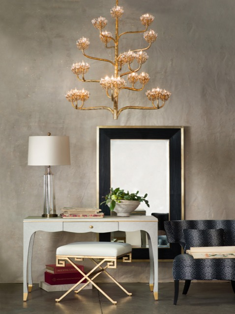 Agave Americana Chandelier with a dark contemporary gold leaf finish crosses