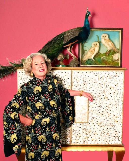 Marjorie Scours with a cabinet with an oyster shell finish