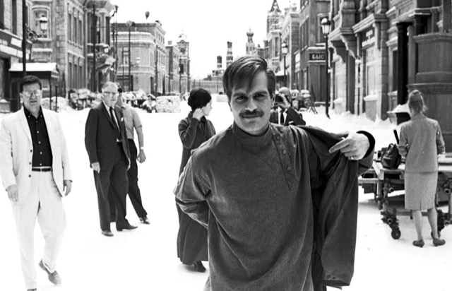 Omar Sharif on the set of Doctor Zhivago.