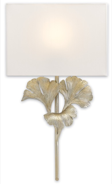 Gingko Wall Sconce in a distressed silver leaf.