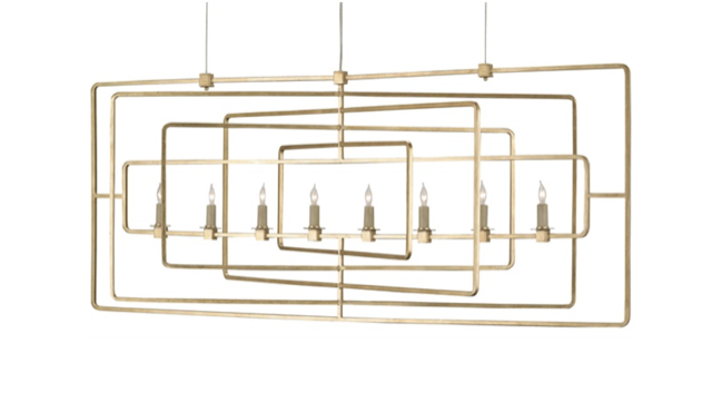 Metro Rectangular chandelier Currey and Company