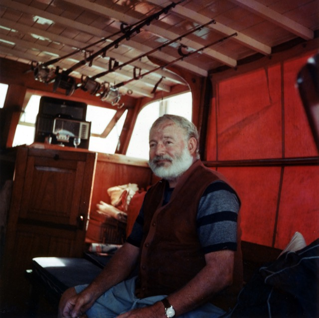 Ernest Hemingway on his boat Pilar