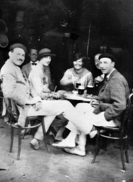 Hemingway with friends in Spain