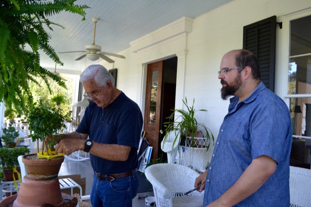 Robert and Brownlee Currey with Bonsai
