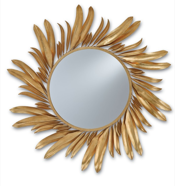 Gold Folium Mirror by Currey and Company proves the obsession with gold continues
