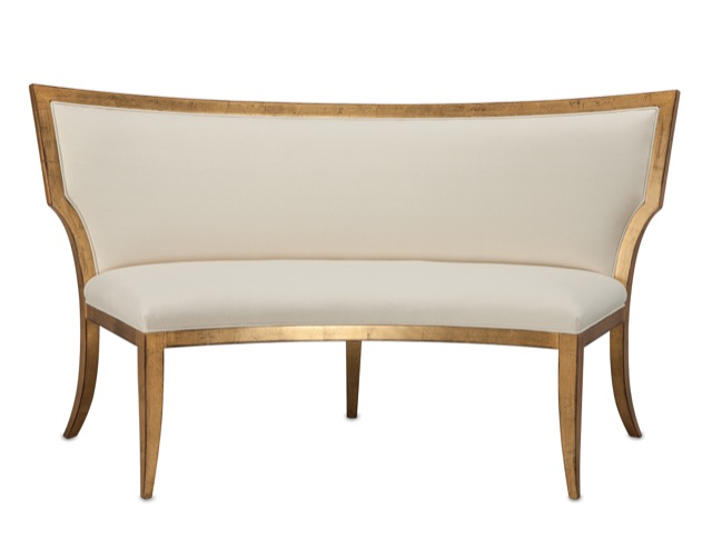 Garbo banquette rimmed in gold.