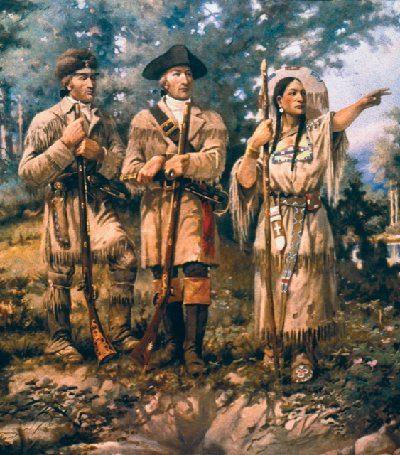 Lewis and Clark, first to cross the continental divide with Saagawea