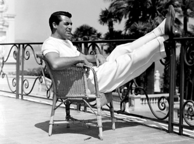 Cary Grant in white slacks and tee shirt
