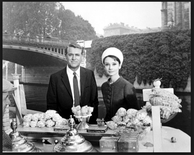 Cary Grant and Audrey Hepburn in Paris while filming Charade