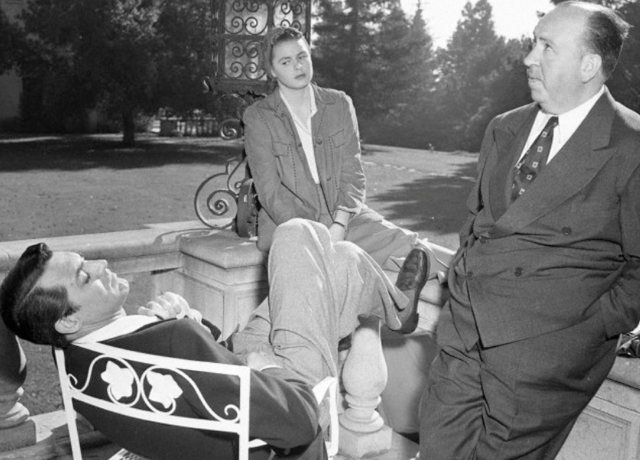 Cary Grant, Ingrid Berman, Alfred Hitchcock