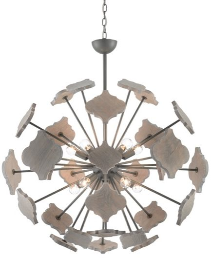 The Currey & Company Ogee Orb chandelier has an ogee pattern