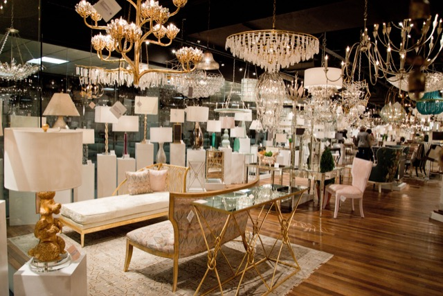 Chandeliers in Currey & Company Dallas showroom