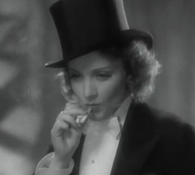 a stylish Marlene Dietrich in Morocco
