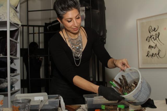 Aviva Stanoff Paints Fabric